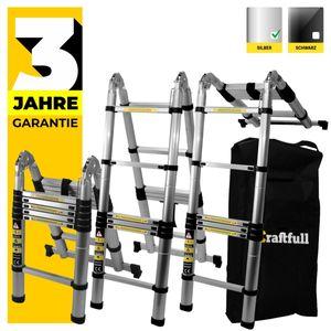 Craftfull ALU LEITER Klappleiter Teleskopleiter Stehleiter Multi Mehrzweckleiter (2 x 2.8 Meter (Total 5.6 m))