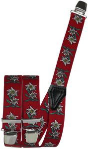 Hosenträger mit Edelweiss in 5 Farben mit 3 Clipsen, Farben:rot