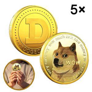 5×Dogecoin-Münzen, vergoldete Gedenkmünze, Sammlermünze in limitierter Auflage von Doge-Münze, Hunde-Gedenkabzeichen