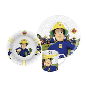 p:os Frühstücksset Feuerwehrmann Sam (Tasse,Teller, Müslischale) Keramik, blau, 3-teilig (1 Set)