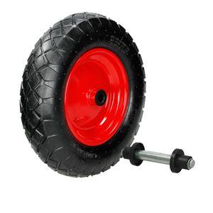 ECD Germany Schubkarrenrad luftbereift mit Achse - 4.80/4.00-8 - ? 390mm - 95mm Breite - 200kg Tragkraft - Reifen mit Stahlfelge - Luftrad Ersatzrad Schubkarren Rad