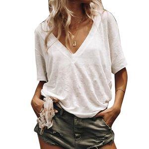 Sommer Frauen Plus Size Solid Color V-Ausschnitt Kurzarm T-Shirt Loose Basic Top Weiss XL