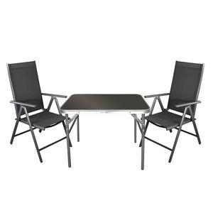 3tlg. Campingmöbel-Set Klapptisch 75x55cm + 2x Hochlehner 'Miami' Grau / Grau