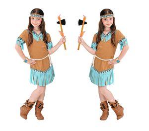 Indianerin Kostüm mit Kleid, Gürtel, Stirnband - Kinderkostüm Gr. 116 cm