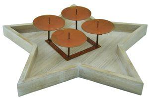 Davartis - Vintage Adventskranz / Dekokranz Sternteller Holz - 38cm