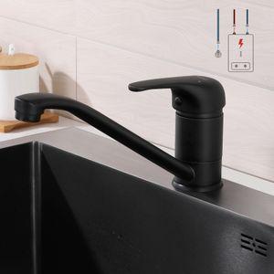 Schwarz Niederdruck Küchenarmatur 360° Drehbar, Wasserhahn Niederdruck Schwarz Einhebelhahn aus Messing, Spülenmischer Mischbatterie Untertischboiler Kaltes und heißes Wasser