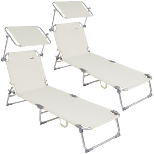 Casaria Sonnenliege Ibiza Aluminium Sonnendach 190cm Gartenliege Strandliege Alu Liege Freizeitliege, Farbe:2x Cremeweiß