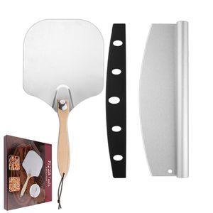 Pizzaschieber aus Edelstahl,Pizza Schaufel Set,Pizzaschaufel mit praktischen Einklapp-Griff zum einfachen Verstauen