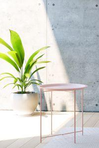 HOMEXPERTS Beistelltisch SMART, Tablett Tisch aus Metall, Durchmesser 47 cm, Untergestell faltbar, in rosa