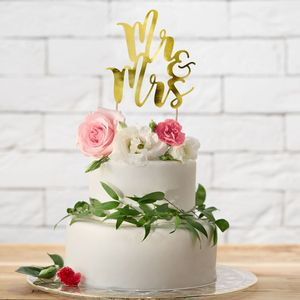 PartyDeco - Cake Topper ' Mr & Mrs '- Gold