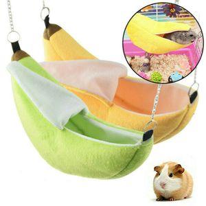 Nager Kleintiere Kuschel Bett Bananentyp Bett für Meerschweinchen Kaninchen Hamster Hängematte 20*6.5cm Rosa