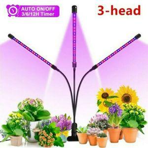 3-Kopf Pflanzenlampe LED Grow Lampe 54 LEDs Zimmer Wachstumslampe 27W Pflanzenlicht Pflanzenleuchte mit Zeitschaltuhr