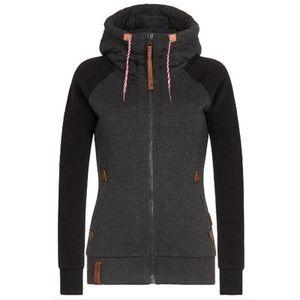 Womens Fleece Zip Up Hoodies Hooded Ladies Swetshirt Jumper Jacket Hoody Coats, Farbe:Schwarz, Größe:XXL