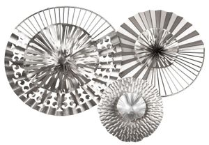 dekojohnson extravagante Wanddeko aus Metall Kreise Industrial Design Bild silber Moderne Wanddekoration Wandbild-Blüten 52x40cm