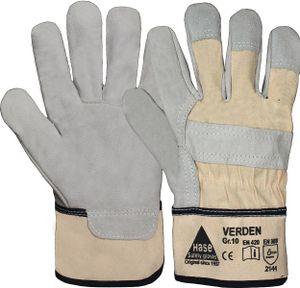 Handschuh EN388 Kat. II Verden Gr. 10 Rindspaltleder gefüttert Canvas Stulpe