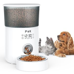 p&k 4L Automatischer Futterautomat Touch Futterspender für Katzen und Hunde, 1-5 Mahlzeiten pro Tag, Netzteil / Batterie, Weiß