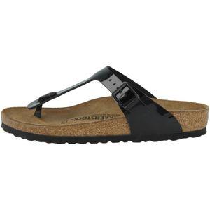 BIRKENSTOCK Gizeh Damen Zehentrenner Schwarz Lack Schuhe, Größe:39
