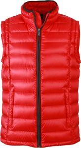 Daunenweste JN1080 Sportliche Weste mit Stehkragen   , Größe:L, Farbe:RED/BLACK