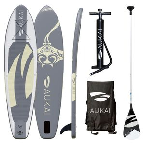 "Aukai® Stand Up Paddle Board 320cm ""Manta"" SUP Surfboard aufblasbar + Paddel Surfbrett Paddling Paddelboard - grau"
