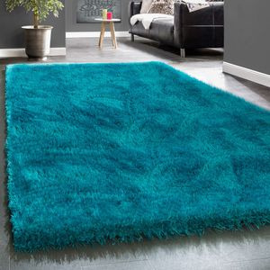 Edler Teppich Shaggy Hochflor Einfarbig Flauschig Glänzend In Türkis, Grösse:120x170 cm