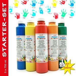 play malmit® Fingerfarbe Startset 5er Fingermalfarbe 750ml Malfarbe Kinderfarbe
