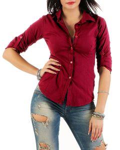 169 Mississhop Damen Klassische Hemdbluse Business Hemd Casual Bluse Oberteil Top Tunika T-Shirt tailliert Unifarben Uni Weinrot S