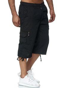 Max Men Herren Bermuda Cargo Shorts Kurze 3/4 Freizeit Hose Leichte Gummibund Schlupfhose, Farben:Schwarz, Größe Shorts:M