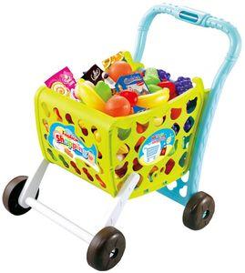 Luna Kinder Einkaufswagen Grün m. Spiellebensmittel 28-tlg. Kaufladenzubehör +3J
