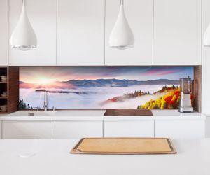 Aufkleber Küchenrückwand Landschaft Sonnenaufgang Karpaten  Folie selbstklebend Dekofolie Fliesen Möbelfolie Spritzschutz 22A699, Höhe x Länge:60cm x 100cm