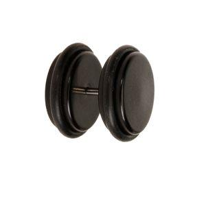 2 Stück 18G Ohrstecker Stecker mit 1/2 Zoll Acryl Fake-Ohr Plug Taper Keilrahmen mit O-Ringen - Schwarz