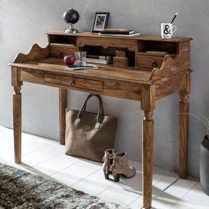 WOHNLING Schreibtisch Massivholz Sheesham | Sekretär 115 x 100 x 60 cm mit 3 Schubladen | Konsolentisch im Landhaus-Stil