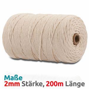 VOYAL Makramee Garn - 200m (Stärke: 2mm) - 100% Natürliches, gezwirntes Baumwolle Garn, natur / beige