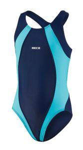 BECO Mädchen Kinder Badeanzug Schwimmanzug Einteiler Größe 176 marine/türkis