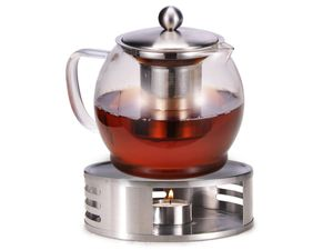 Teekanne Glas mit Edelstahl Stövchen Teebereiter Siebeinsatz Sieb Teewärmer 1,2l