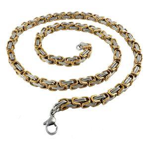 6 mm Königskette Armband Herrenkette Männer Kette Halskette, 60 cm Silber / Gold Edelstahl Ketten