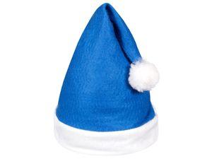 Weihnachtsmütze blau weiß mit Bommel 31