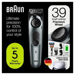 Braun BT7220 Herren-Barttrimmer und Haarschneider, 39 Längeneinstellungen, schwarz/grau-metallic