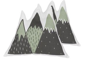 Dekokissen Grün / Schwarz Baumwolle 2er Set Bergform 60 x 50 cm Wohnzimmer Kindezimmer