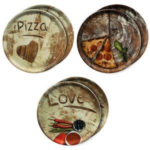 6er Set Pizzateller Oliven-, Salami- & Lieblingspizza Ø 33,3cm Platte XL-Teller