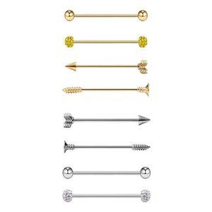 8er Pack Industrial Piercing Ball Barbell Ohr Bar Ohrring 14G & 16G