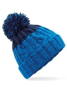 Apres Beanie - Luxus Bommel - Farbe: Azure Blue/Oxford Navy - Größe: One Size