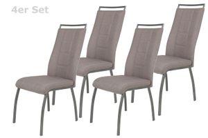 4er Set Vierfußstuhl Amber 1  - Webstoff Schlamm - Metallgestell Grau lackiert, Griifleiste am Rücken