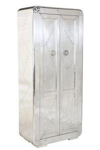 SIT Möbel Schrank | 2 Türen, 3 Böden innen, 1 Kleiderstange | Mangoholz + MDF mit Alu beschlagen silber | B 80 x T 40 x H 180 cm | 01764-21 | Serie AIRMAN