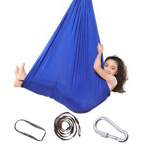 Kinderhängematte, verstellbare Yoga-Lufthängematte, Innentherapie-Kuschelschaukel für Kinder mit Autismus, ADHS, Asperger, sensorische Integration, Länge 1,5 m, blau