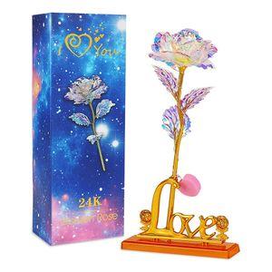 24K Gold Rose, Galaxy Rose Geschenk, Rose Handgefertigt Konservierte Rose mit Licht, Präsentationsständer und Geschenkbox für Hochzeit, Muttertag, Geburtstag, Valentinstag, Jahrestag