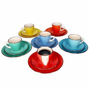 18-tlg. Kaffeeservice Colour Power bunt 6 Pers. Tasse Untertasse Teller Steingut