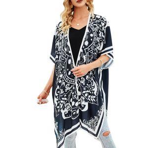 Frauen Kimono Strickjacke Vintage Print Offene Front Kurze aermel uebergrosse Robe Badeanzug Strand Vertuschen