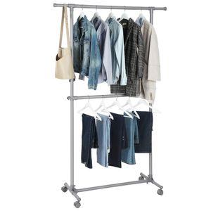 SONGMICS Kleiderständer mit Rollen ausziehbarer Garderobenständer mit Doppelstange (102-164) x 48,5 x 198 cm bis 60 kg belastbar grau LLR14GY