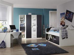 Jugendzimmer Rocco 4-teiliges Komplett- Set in Alpinweiß- Graphit