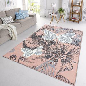 Velours Design Teppich New Butterfly | Kurzflor Schmetterling creme, violett, blau, Farbe:rosa/creme/grau, Größe:120x170 cm